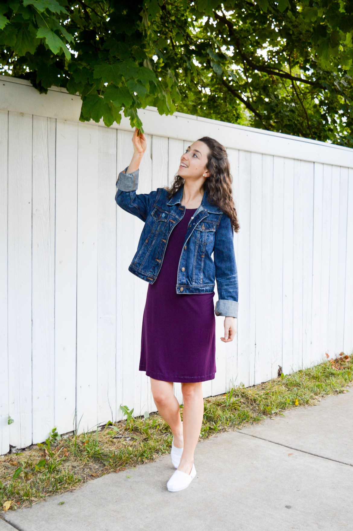 Knit dress + jean jacket + white sneakers | Casual, versatile weekend outfit