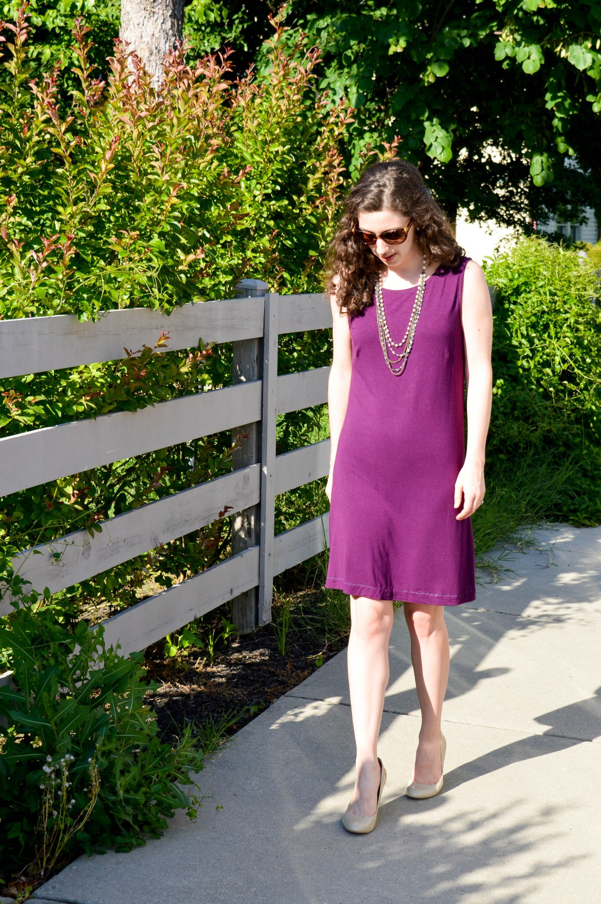 Purple Knit Dress | Comfortable, easy summer work outfit