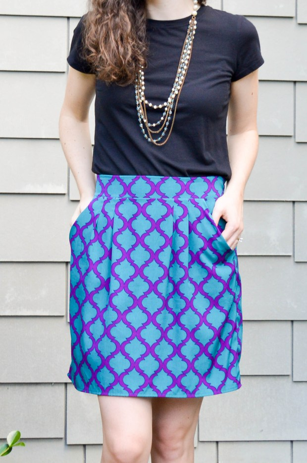 Teal and purple patterned skirt