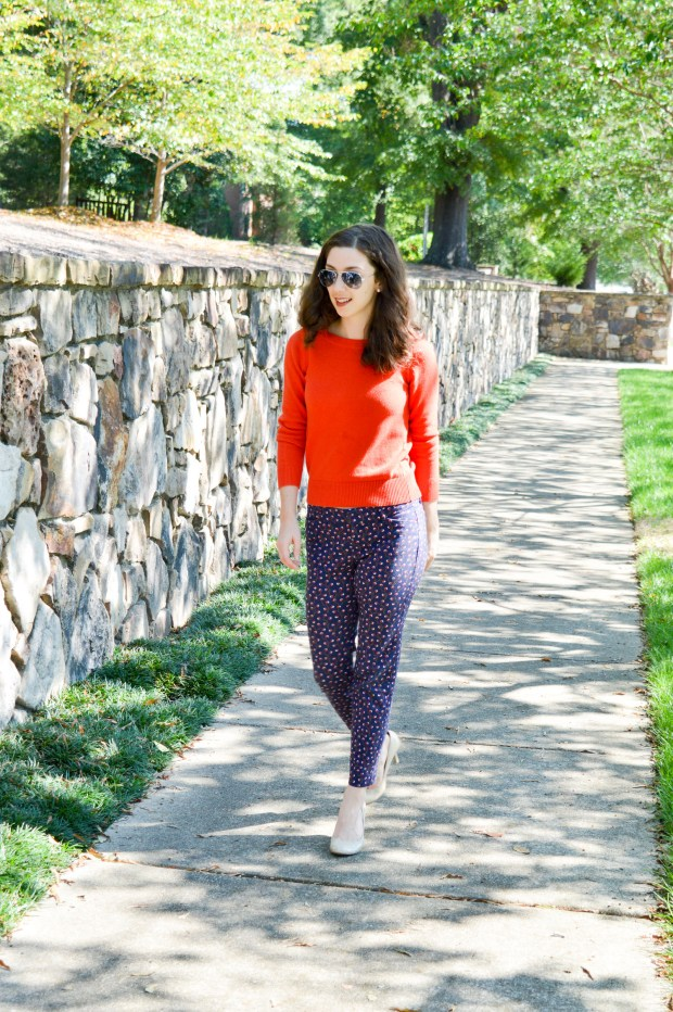 Purple patterned pixie pants from Old Navy