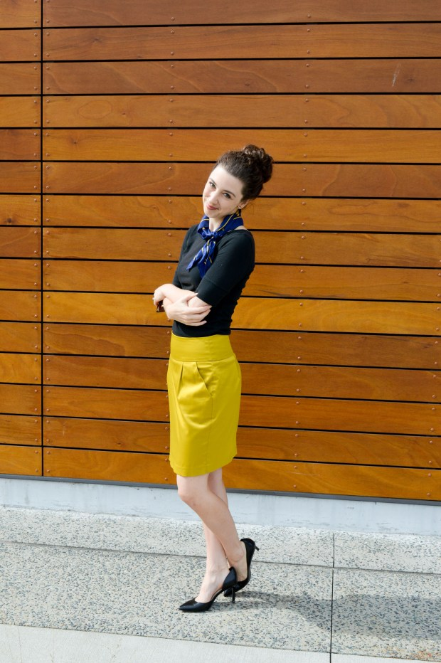Silk Scarf + Pencil Skirt | Cute Business Casual Looks for Fall