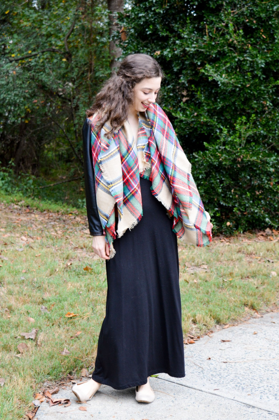 How to wear a blanket scarf as a cozy stole