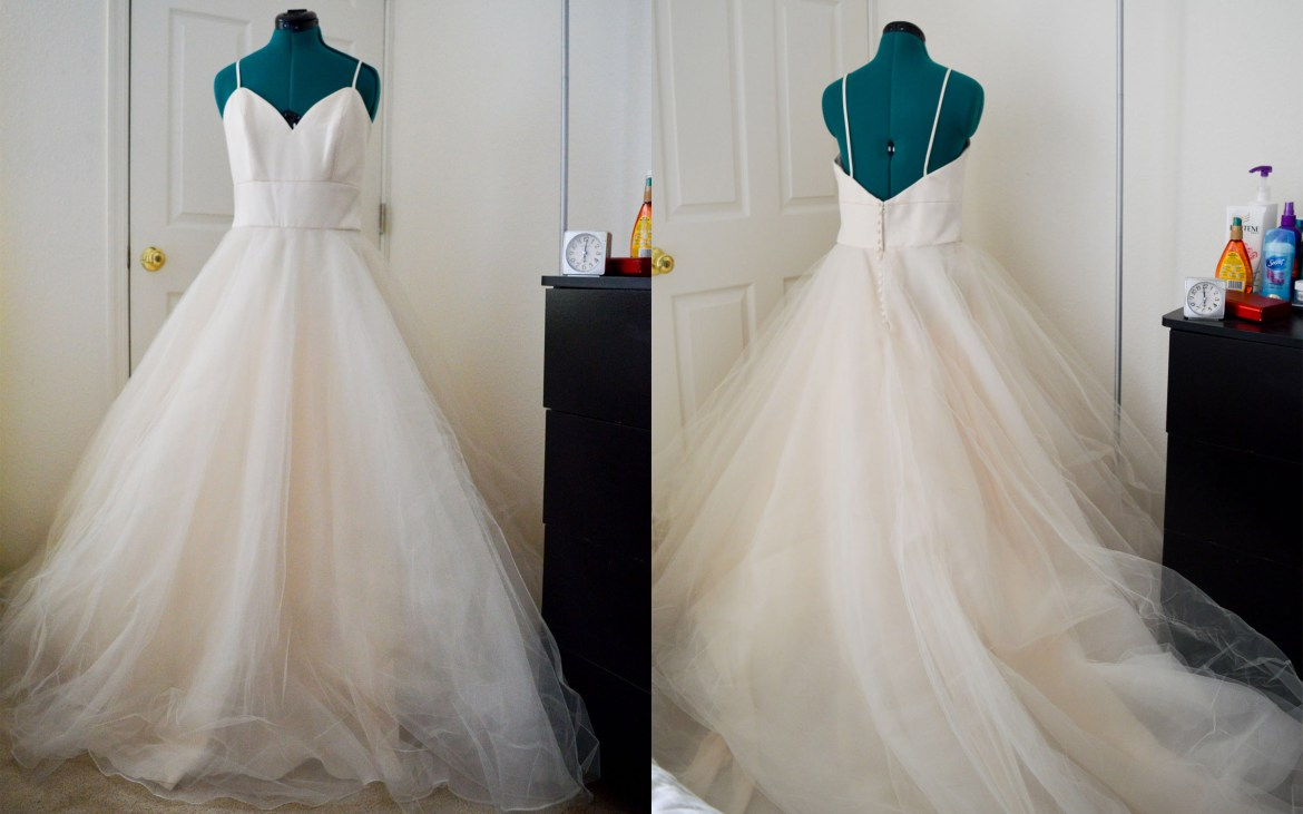 The wedding dress | Front and back on a dress form