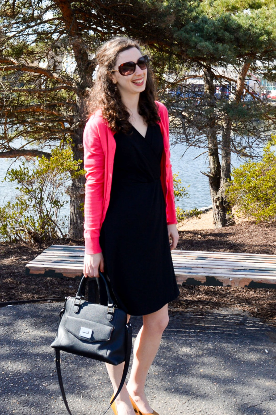 Wear to Work Wednesday: Classic black dress + pink cardigan + nude wedges