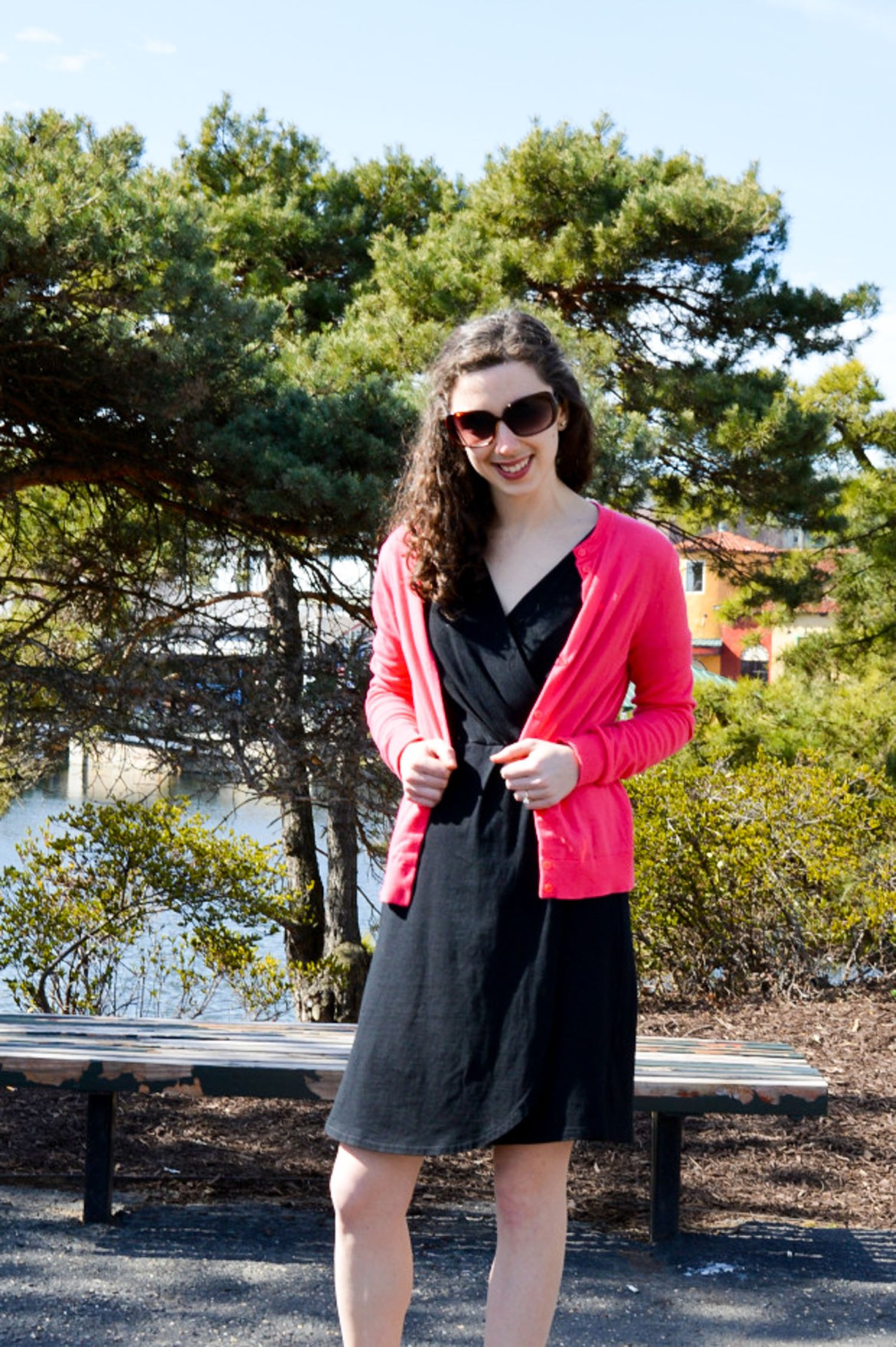 Black dress + pink cardigan | Outfit ideas from Hunting for Pink Flamingos