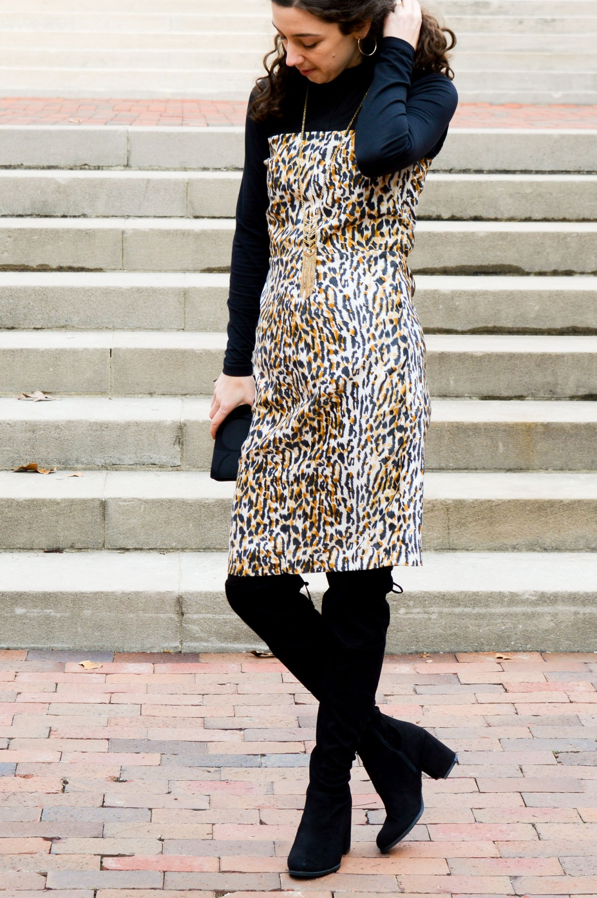 Leopard print dress + black turtleneck // Hunting for Pink Flamingos
