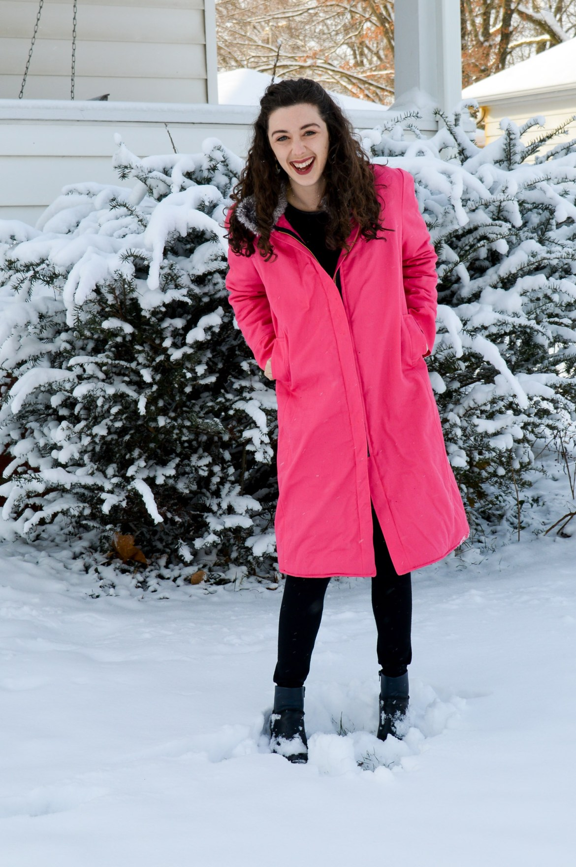 Brighten up gloomy winter days with a hot pink coat