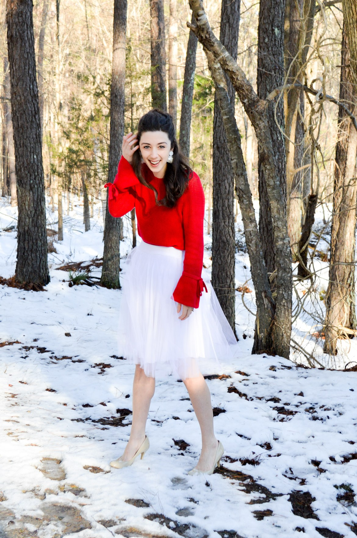Red Sweater + Tulle Skirt // Hunting for Pink Flamingos