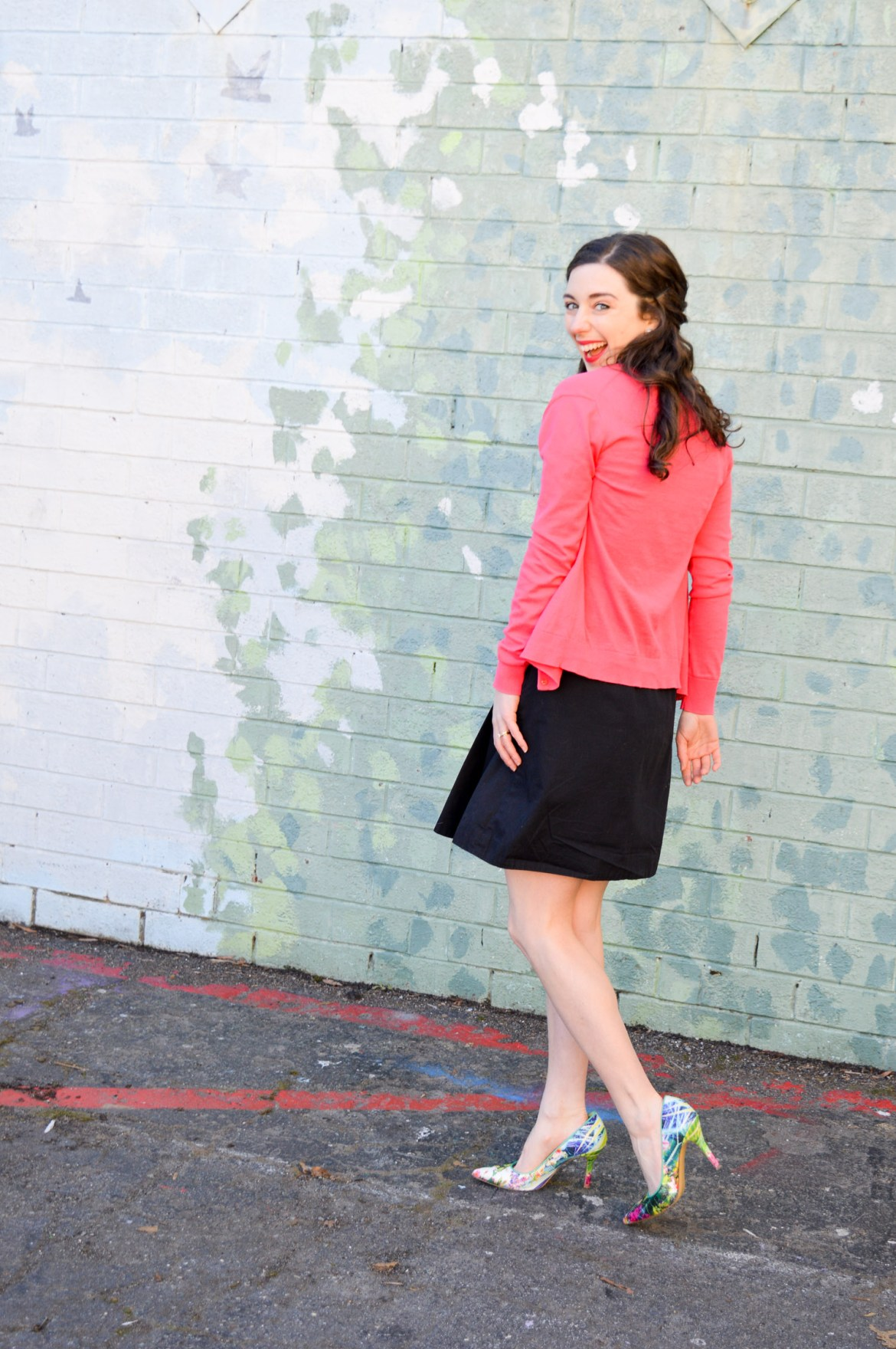 f3c7a617b8a 3 Ways to Wear Your Little Black Dress    Pink Cardigan + Floral Heels