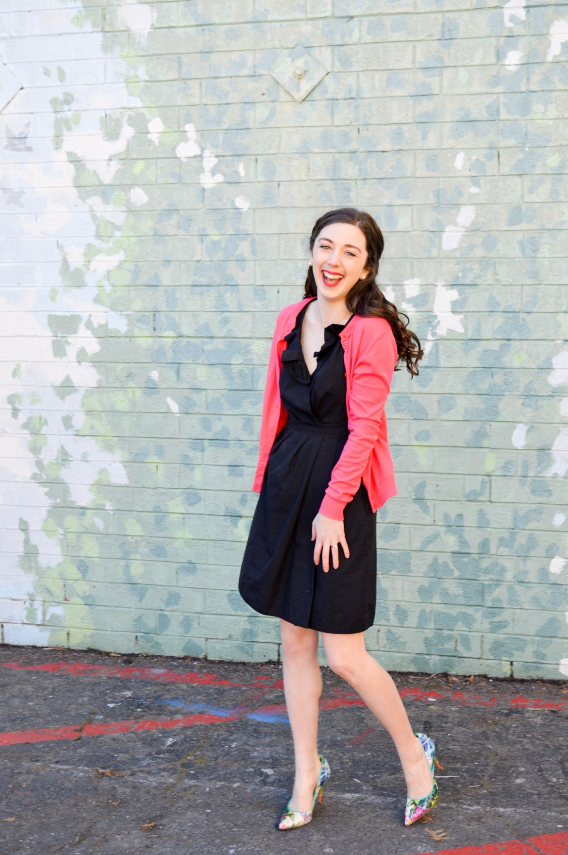 6ee5c86b254 Statement shoes + Pink Cardigan + Black dress Little Black Dress with pops  of color    Hunting for Pink Flamingos