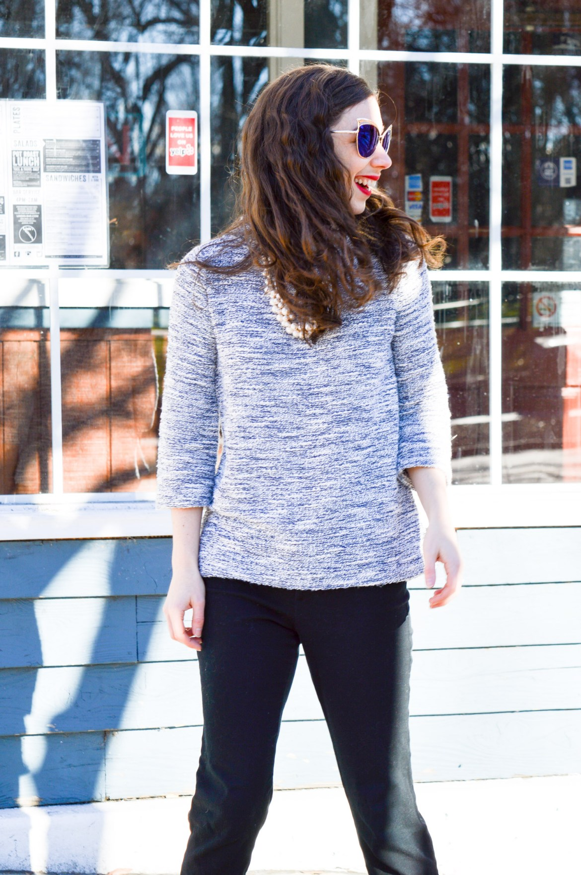 What to Wear to Work: Three Quarter Sleeve Sweater and Pixie Pants