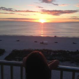 Watching the Sunset from our a hotel balcony in Treasure Island, Florida.