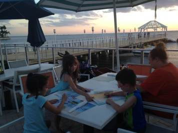 Dinner at the Beach Restaurant at the Bay Harbor Hotel on Tampa Bay, Florida.