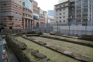 The Temple of Mithras, Walbrook. Now enclosed in the basement of Bloombergs.