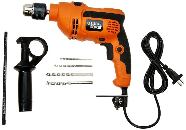 This Black & Decker 550W Impact drill KR554RE features a impact hammering action makes suitable for drilling in concrete, wood