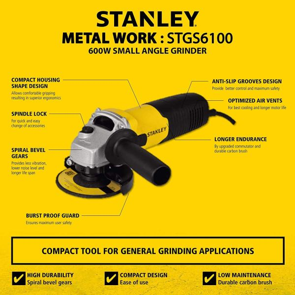 TANLEY STGS6100 600W, 100mm Small Angle Grinder (Yellow and Black)