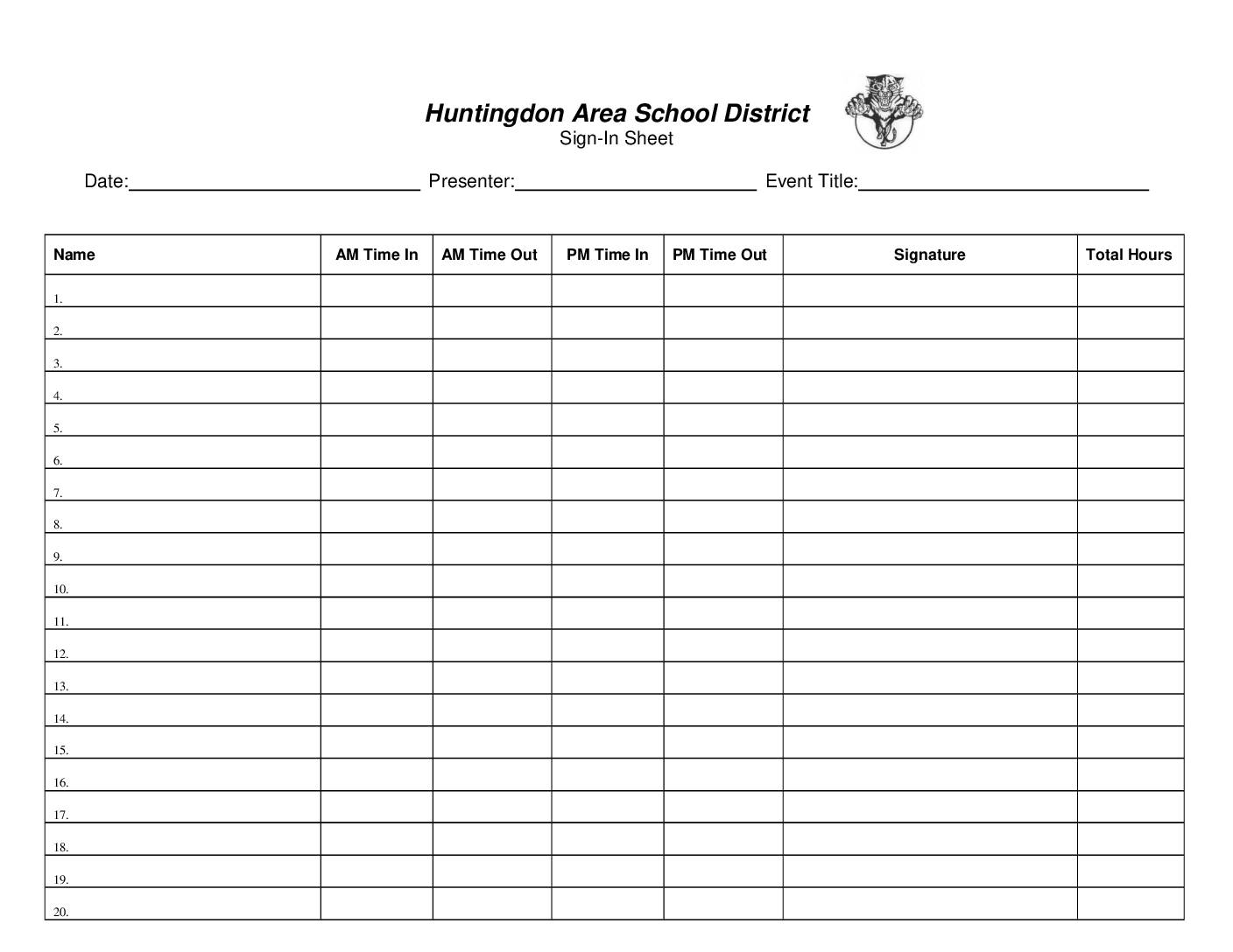Pd Sign In Sheet Huntingdon Area School District