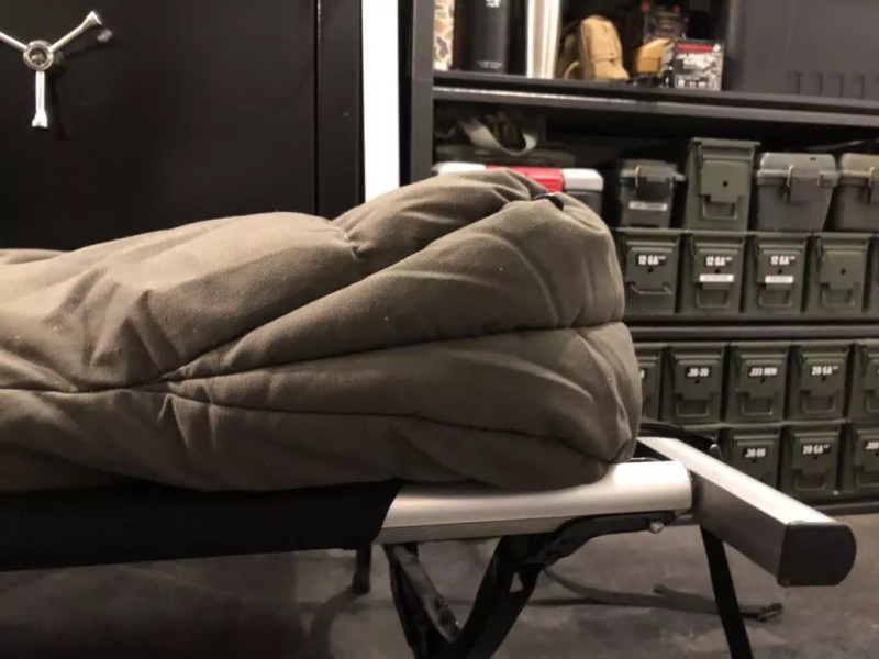 The wedge shaped foot-box in the Kodiak canvas Z-Top Sleeping bag.