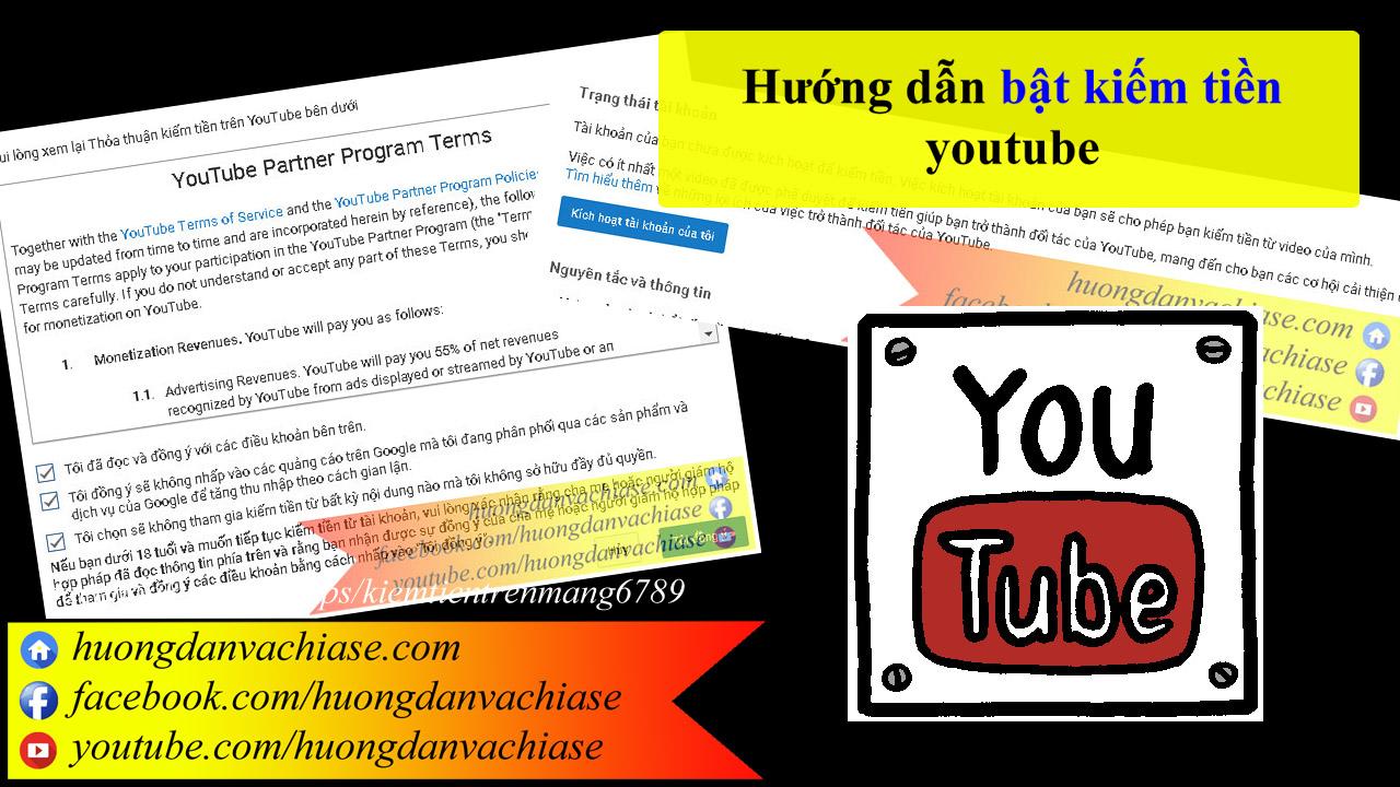 Bật tính năng kiếm tiền trên youtube