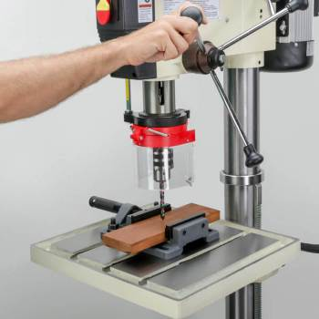 drilling machine with drill guard installed