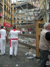 Part of the fencing set up throughout the city to protect the people from the bulls
