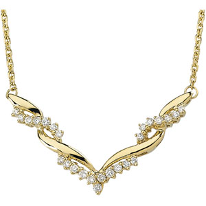 Round Clear Diamond 14k Yellow Gold Ladies Pendant Necklace