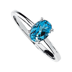 Oval Swiss Blue Topaz 14k White Gold Ladies Ring