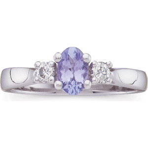 Oval Blue-Violet Tanzanite 14 K White Gold Ladies Ring