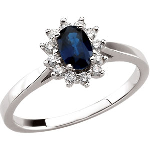 Oval Blue Sapphire 14k White Gold Ladies Ring