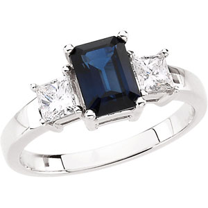Rectangle Blue Sapphire 14k White Gold Ladies Ring