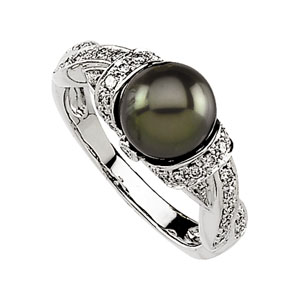 Round Black Freshwater Cultured Pearl 14k White Gold Ladies Ring