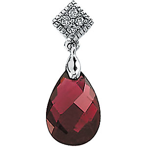 Pear Briolette Red Brazilian Garnet 14k White Gold Ladies Pendant