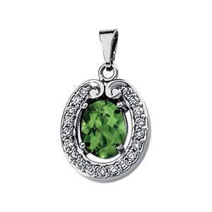 Oval Green Tourmaline 14k White Gold Ladies Pendant