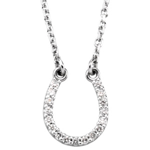 Round Clear Diamond 14k White Gold Ladies Pendant Necklace