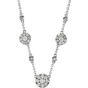 Round Clear Diamond 14k White Gold Ladies Necklace