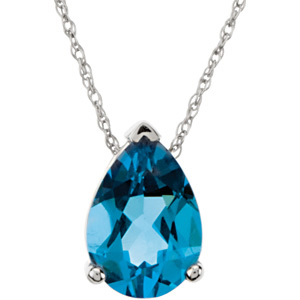 Pear Swiss Blue Topaz 14k White Gold Ladies Pendant Slide
