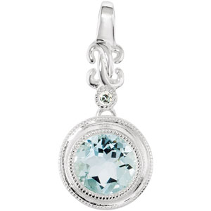 Round Light Blue Aquamarine Sterling Silver Ladies Pendant