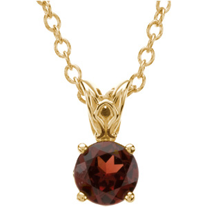Round Red Brown Mozambique Garnet 14k Yellow Gold Ladies Pendant Necklace