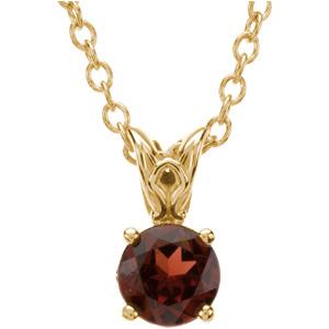 Round Red Brown Mozambique Garnet 14k Yellow Gold Ladies Pendant Necklace