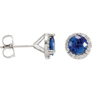 Round Blue Sapphire 14k X1 White Gold Ladies Earrings