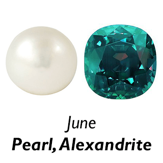 June Birthstones - Pearl and Alexandrite