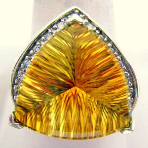 Fantasy Trillion Yellow Orange Citrine 14K White Gold Ladies Ring