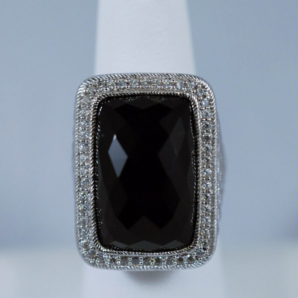 Rectangle Black Onyx Sterling Silver Judith Ripka Ladies Ring