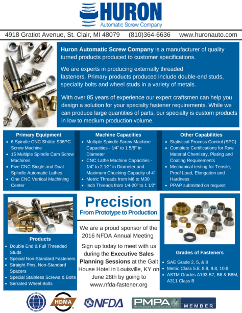 4474bfaf7dee Huron Automatic Screw Company to Sponsor and Attend the 2016 NFDA ...
