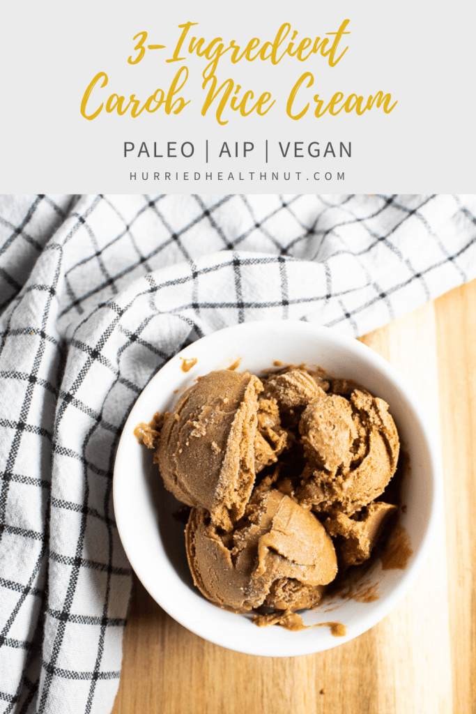 This 3-Ingredient Carob Nice Cream comes together in five minutes flat and makes an excellent caffeine-free AIP, paleo or vegan treat! #carob #icecream #bananaicecream #nicecream #aip #paleo #treat