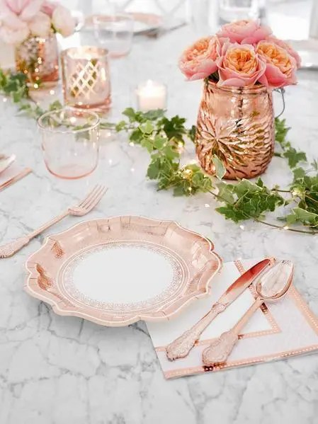 Party Porcelain Rose Gold Plate