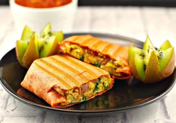 Mediterranean Breakfast Burrito - 18 Vegetarian Breakfast Ideas | hurrythefoodup.com