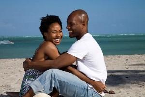 black couple beach