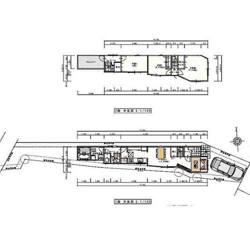 久々、超細長い間取り図発見!これは建築条件付き土地のプラン図です。細かい数字が読めないのが残念ですが、一番狭い所が1.?メートル!一番幅広な所でも2メートル40..?かな?って感じです。車のサイズを参考にしてみてください。あ。二階は通り抜けできないんですね〜キッチンの通路幅は何センチなのかな??そこ通らないとトイレもお風呂も行けないんですね。来客時にはちょっと困るかな?閉所恐怖症だと辛いですね。しかし変な形の土地ですねしかも全部傾斜地みたいです…#狭小#傾斜#今日の一枚 #間取り#間取り図#図面#間取り図見るのが好き#間取り萌え #間取り図大好き #間取りフェチ #間取り探検#間取り図鑑定士 #間取りの方程式