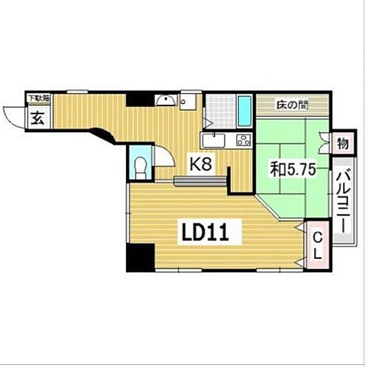 Kを強気に8と書いちゃう間取り図。#そこは#廊下じゃ#ありませんけど#何か#和室で#寝るとすると#布団#しまう場所#ないから#リビングダイニング#ベッド#置くの#かな#そんな#間取り図